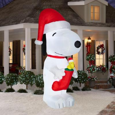 10 foot snoopy inflatable with woodstock in christmas stocking - Snoopy Blow Up Christmas Decorations