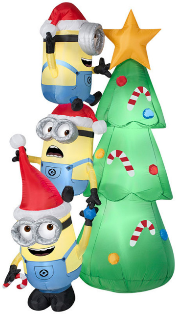 Minions Decorating Christmas Tree Inflatable