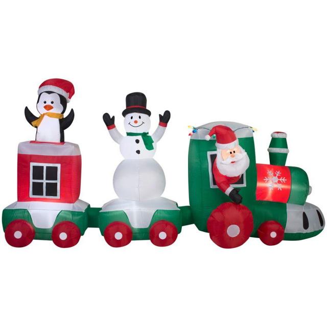 Santa car train scene christmas inflatable
