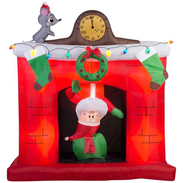 santa coming down the chimney scene christmas inflatable