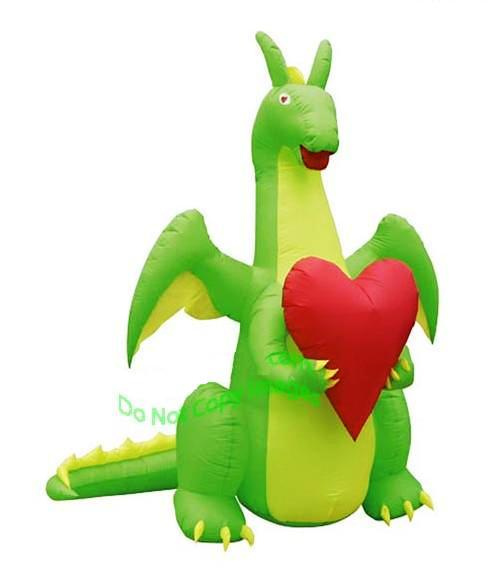 Valentines Day Dragon Holding A Heart Inflatable. View Images