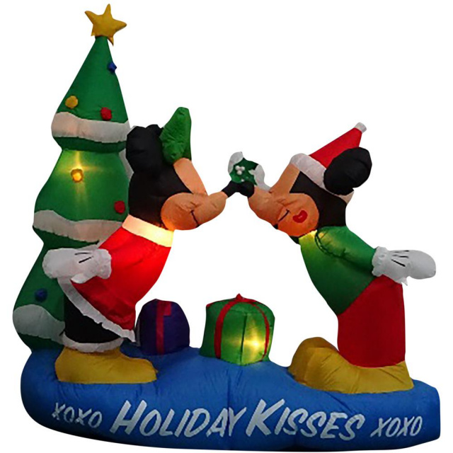 minnie and mickey mouse under the mistletoe christmas inflatable