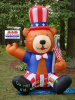 Patriotic Bear Holding American Flag Inflatable