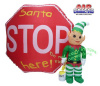 Cute Elf Standing Next to Stop Sign Christmas Inflatable