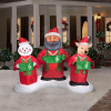 Animated African American Santa with Snowman and Reindeer Carolers