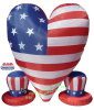 Patriotic Heart with Two Hats Inflatable