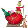 Santa Grinch and Sleigh with Max Christmas Inflatable