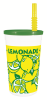 16 oz Plastic Tall Lemonade Drink Cup with Lid and Straw