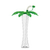 12 oz Clear Yard Slush Cup with Green Palm Lid and Straw/
