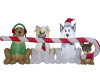 Puppies Sharing Candy Cane Christmas Inflatable