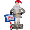 Santa Holding Sign God Bless America Christmas Inflatable