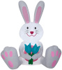 Easter Bunny Holding Two Blue Tulips Easter Inflatable