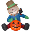 4 Foot Harvest Scarecrow With Pumpkin Airblown Inflatable