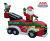 Santa In Fire Truck  With Snowman Christmas Inflatable