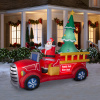 Giant 9 Foot 2019 Santa Firetruck Christmas Inflatable