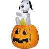 Snoopy Sitting On Pumpkin With Woodstock Harvest Inflatable