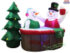 Snowman Couple in Hot Tub Holiday Inflatable