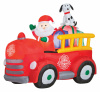 Santa and Friends in Firetruck Christmas Inflatable